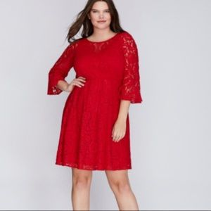 Lane Bryant | Lace Overlay Red Fit & Flare Dress